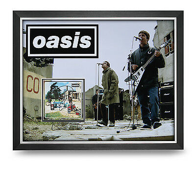 Noel & Liam Gallagher Signed Photo Large Framed 20x16 Oasis Autograph Display