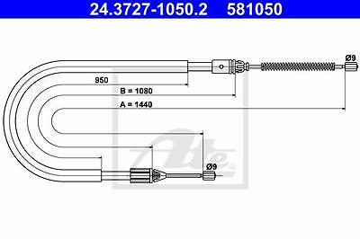 Rear Hand Brake Cable ATE 24.3727-1050.2 for Renault