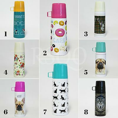 Stainless Steel Insulated Thermos Flask Vacuum Hot Drinks Tea Coffee 350ml