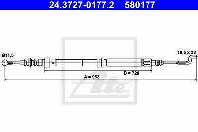 Rear Hand Brake Cable ATE 24.3727-0177.2 for Vw