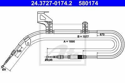Rear Hand Brake Cable ATE 24.3727-0174.2 Vw