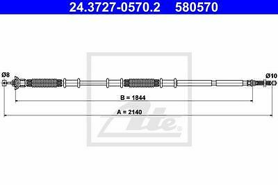 Rear Hand Brake Cable ATE 24.3727-0570.2 for Fiat