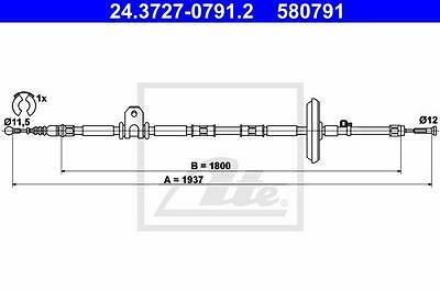 Rear Hand Brake Cable ATE 24.3727-0791.2 for Opel