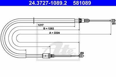 Rear Hand Brake Cable ATE 24.3727-1089.2 for Renault