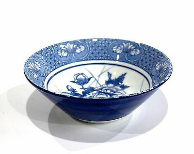 Japanese Fine Porcelain Large Footed Bowl Blue & White Peony Flowers Geometric