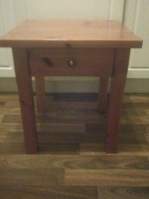 solid pine side table with drawer