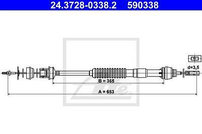 Clutch Cable ATE 24.3728-0338.2 for Citroen Peugeot