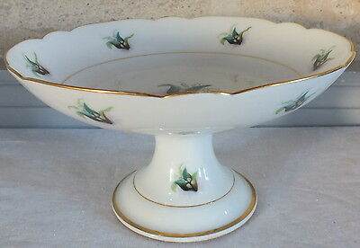 compotier coupe montée porcelaine de Paris décor muguet filet or époque 19ème