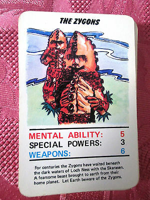 Doctor Who Jotastar 1978 card game ZYGONS  (Top Trumps) SINGLE CARD