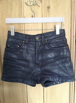 Vintage Black Soft Leather Shorts Hot Pats High Waisted Clash W28 Size Xs- S