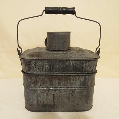 ANTIQUE COAL MINER'S TIN 6-Piece LUNCH PAIL WITH BAIL & WOODEN HANDLE OLD AS-IS