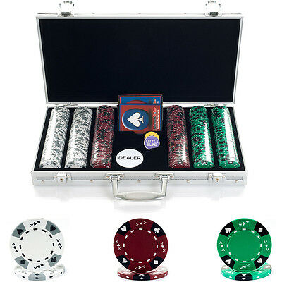 Trademark Poker 300 14G Tricolor Ace/king Suited Chips In Aluminum Case