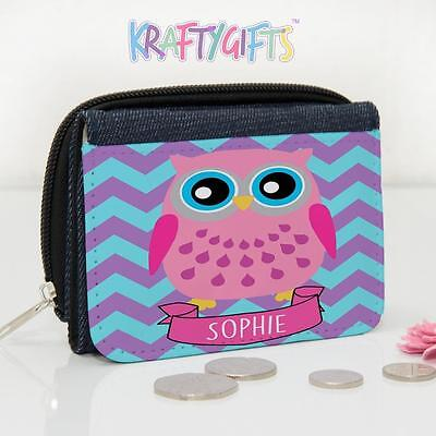 Personalised Cute Owl Name Girls Lunch Denim Coin Money Purse NL001