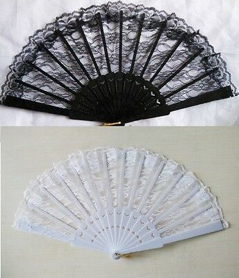 Spanish Flamenco Dancer Folding Lace Hand Fan Fancy Dress Geisha  White / Black