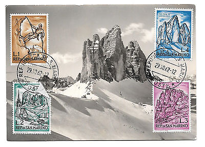 San Marino Maximum Card 1962 Mountaineering Sport 4 Stamps Maxi