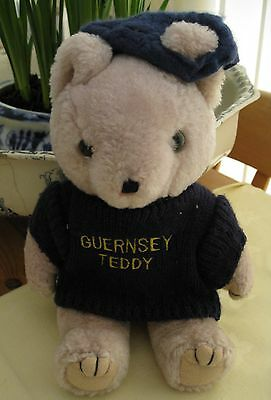 "Vintage Guernsey Teddy Bear Jointed 10"" Cute 1980's"