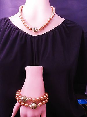 Heidi Daus Premiere Attraction Necklace Combo (Sm/Brn - Gold)   Ret: $279.95