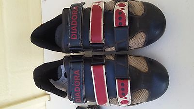 Size 9 Diadora Cycling shoes and Wellgo pedals