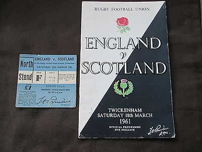 England v Scotland Rugby Union Programme & ticket (ORIGINAL) from 1961