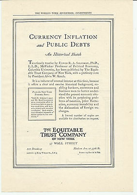 Vintage, Original 1922 - The Equitable Trust Company Ad of New York - Investment