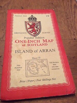 vintage os map island of arran Sheet 77  One inch map.  Popular edition.