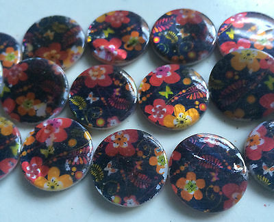 Multi Coloured Double Sided Printed Flat Round Shaped Shell Beads. Size 20mm. 3