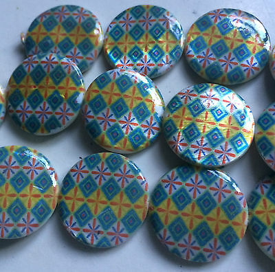 Multi Coloured Double Sided Printed Flat Round Shaped Shell Beads. Size 25mm. 2