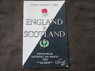 England v Scotland Rugby Union programme 16th March 1963