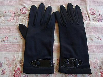 Gants N06 Femme Noirs Textile Doubles T6 Vintage60 Woman Fabric Lined Gloves Xs