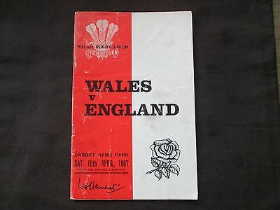 Wales v England Rugby Union Programme 15th April 1967
