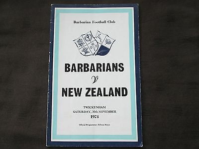 Barbarians v New Zealand Rugby Union Programme 30th November 1974