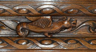 French Gothic Decorative Carved Wood Panel - Drawer Pull Front - Griffin Chimera
