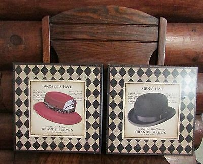 "Wall Hangings 10.5"" x 10.5"" Square Pics Bowler Hat Men's Women's His Hers Decor"