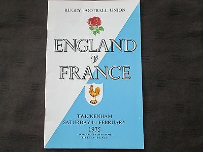 England v France Rugby Union Programme from 1st February 1975