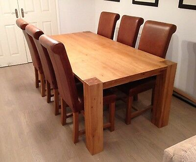 Solid Oak Dining Table & 6 Indigo (like Halo) Aniline Leather Dining Chairs