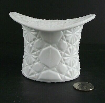 Large Size Daisy And Button ? Milk Glass Hat Flower Pot Desk Holder Etc