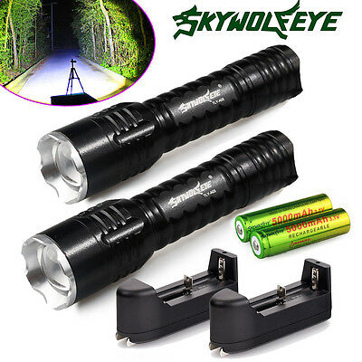 2Pcs 6000Lumen Rechargeable Tactical CREE Q5 LED Flashlight + Battery + Charger