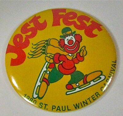 Vintage 1980 St Paul Winter Carnival Jest Fest Button Pin - Ice Skating Clown
