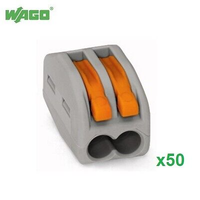 50x 32A 2 Way Wago Terminal Lever Splicing Connector Reusable 222-412 Wago