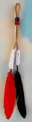 Native American Navajo Friendship Feather Black and Red by Ron Manygoats
