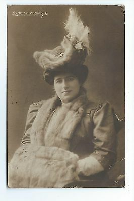 Gertrude Lonsdale - Operatic Singer,Seated in hat and coat, Vintage Postcard.