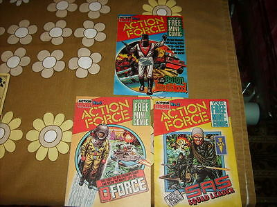 3 x classic Action Man Action Force Mini-Comics # 1, 2 and 4 from 1983