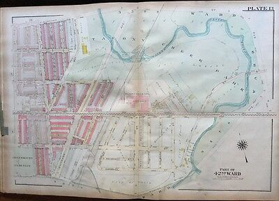 Original 1923 G.w. Bromley Philadelphia Pa, Tacony Creek Park, Atlas Plat Map