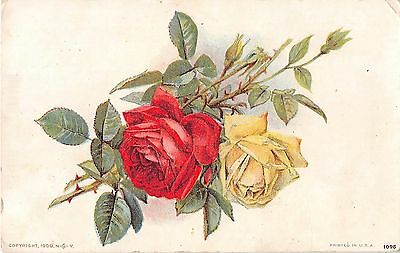 Yellow & Red Roses on Satiny Background - 1909 Postcard - No. 1095