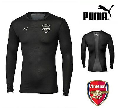 Arsenal FC Base Layer Mens Training Football Tee Puma Black T-Shirt Top S-XL NEW