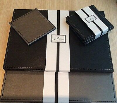 6 x faux leather Dark Brown & Silver-reversible placemats & matching coasters