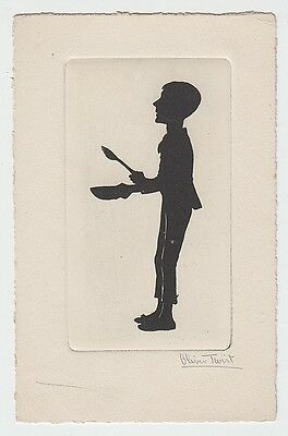 Oliver Twist - printed black silhouette Charles Dickens (plain-backed) postcard