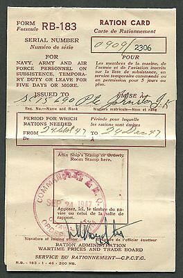 Canada Wwii Ration Card With 4 Sugar Stamps