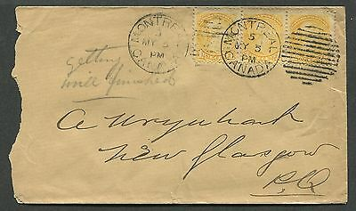 Canada #35 Used Small Queen Strip Of 3 Tied To Cover