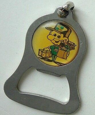 """vintage 2"""" metal bottle opener picture of grocery delivery man"""